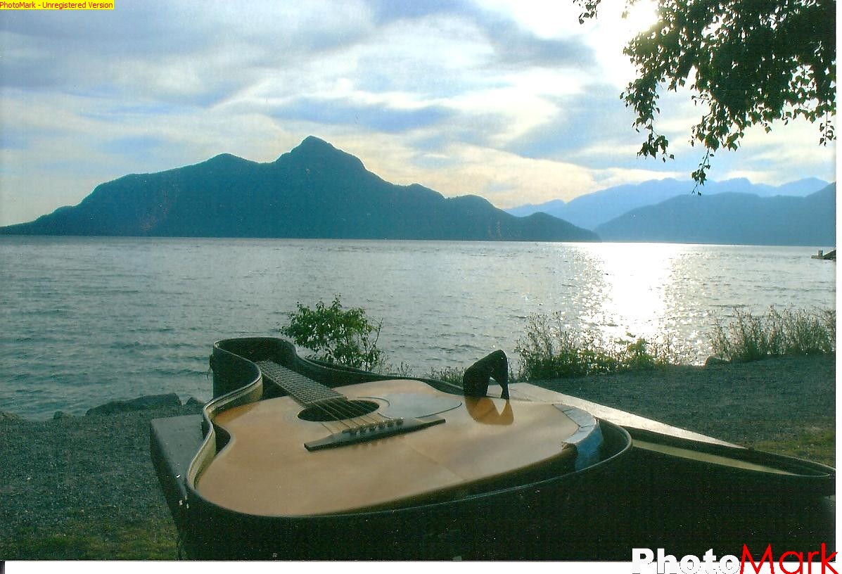 British Columbia sunset with Guitar
