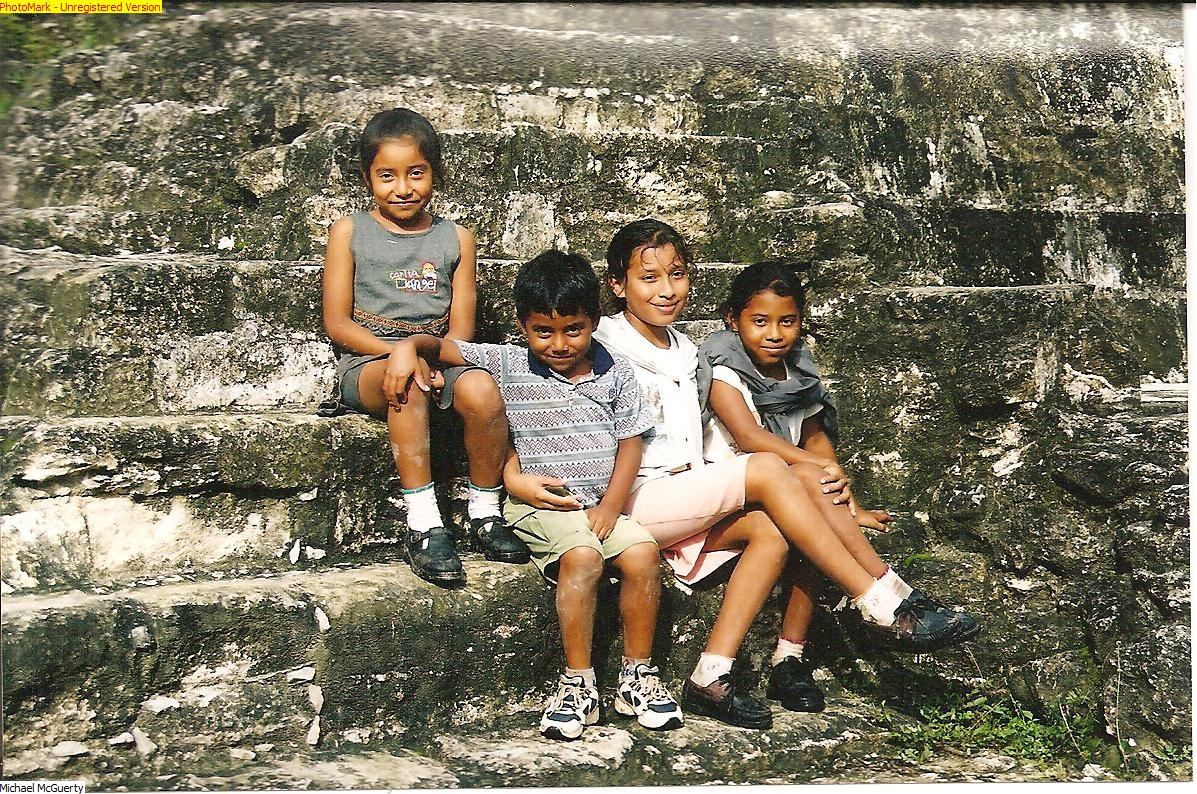 Guatemalan Kids at Mayan Temple, Tikal - Guatemala